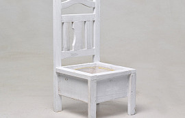 Wooden Chair Planter White H32cm