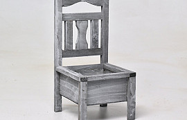 Wooden Chair Planter Grey H32cm