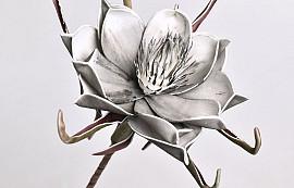 Fleur en mousse Gris, D 20cm